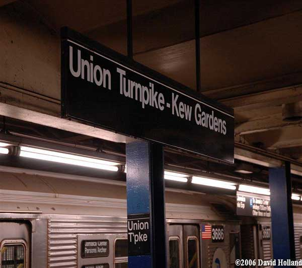 Station sign at the Kew Gardens-Union Turnpike station in Queens