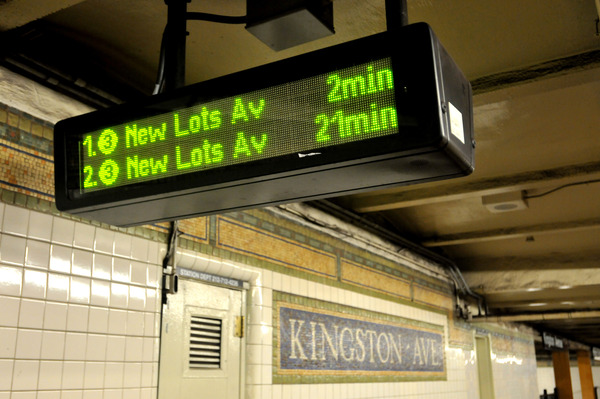 New PA/CIS board at the Kingston Avenue subway station.