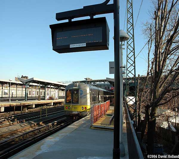 LIRR train departing the Woodside station.