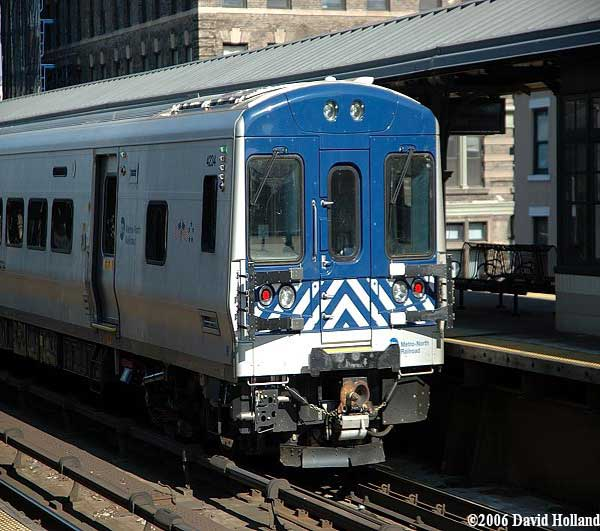 Metro-North train departing the Harlem-125th Street station.