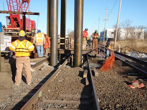 Installing pipe piles at the Powell Creek Bridge.