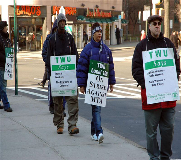 MTA workers striking at the Parkchester Station on day 2 of the 2005 transit strike.