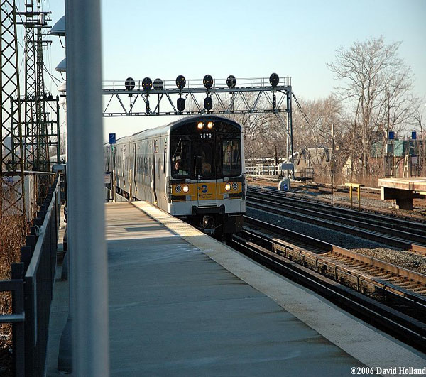 LIRR train pulling into Woodside Station 02-20-06